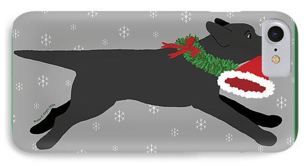 Black Labrador Steals Santa's Hat IPhone Case