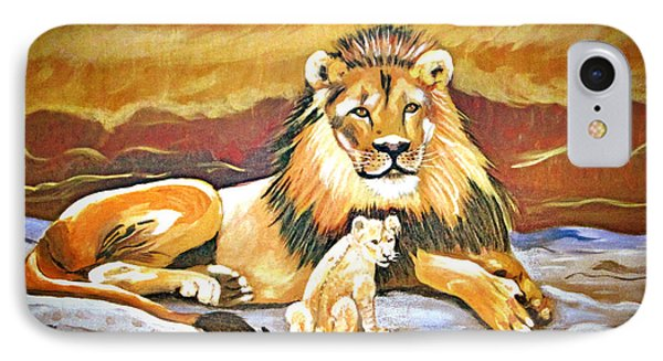 Black Maned Lion And Cub Phone Case by Phyllis Kaltenbach