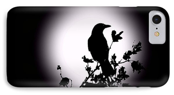 Blackbird In Silhouette  IPhone Case by David Dehner