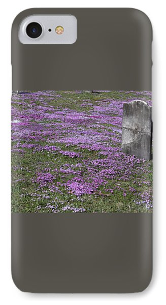 Blank Colonial Tombstone Amidst Graveyard Phlox Phone Case by John Stephens