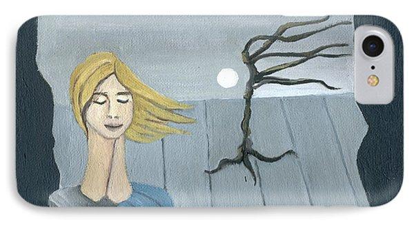 Blond In The Wind Surrealistic Landscape Windy Tree Woman Head In Blue And Yellow  Phone Case by Rachel Hershkovitz