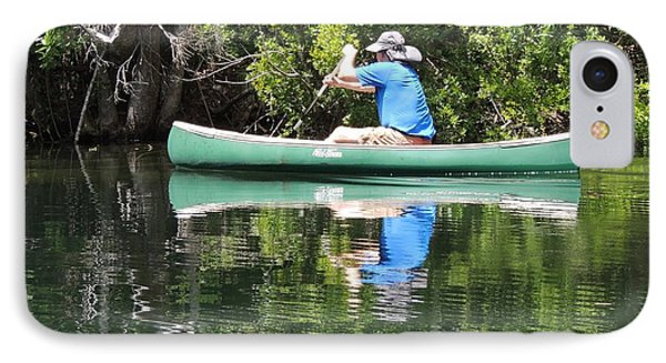 Blue Amongst The Greens - Canoeing On The St. Marks Phone Case by Marilyn Holkham