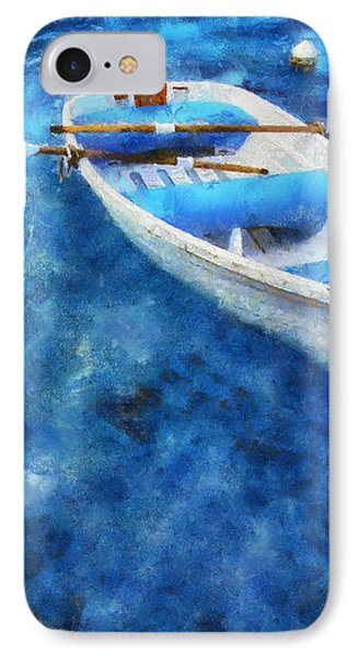 Blue And White. Lonely Boat. Impressionism Phone Case by Jenny Rainbow