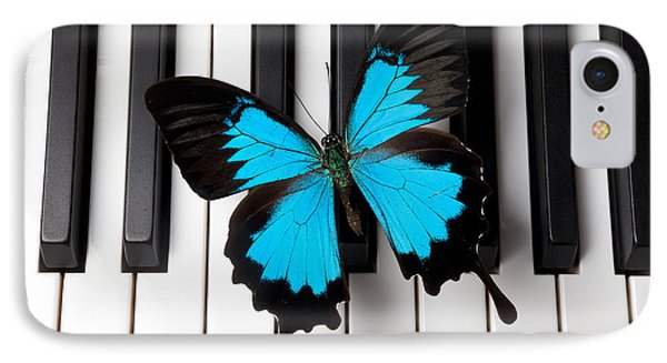 Blue Butterfly On Piano Keys Phone Case by Garry Gay