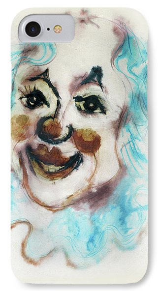 Blue Collar Clown Face With Red Nose And Lips Raised Eyebrows Smile   Phone Case by Rachel Hershkovitz