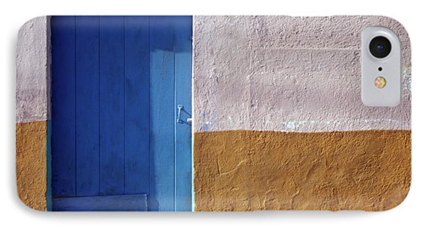 IPhone Case featuring the photograph Blue Door Cozumel Mexico by John  Mitchell