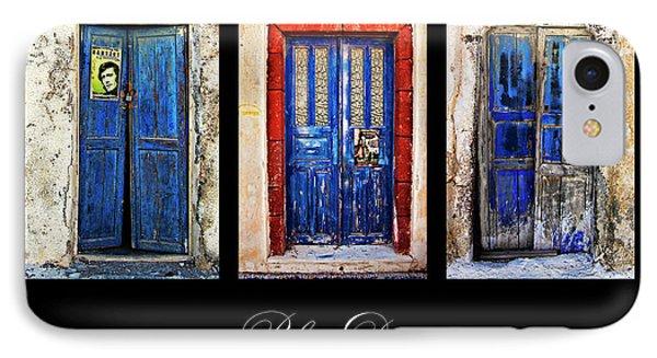 Blue Doors Of Santorini Phone Case by Meirion Matthias