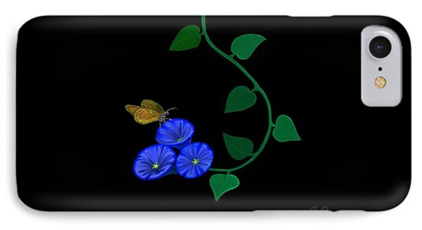 Blue Flower Butterfly IPhone Case