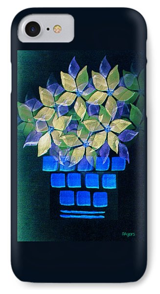 Blue Flower Pot IPhone Case by Paula Ayers