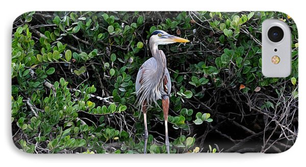 IPhone Case featuring the photograph Blue Heron In Tree by Dan Friend