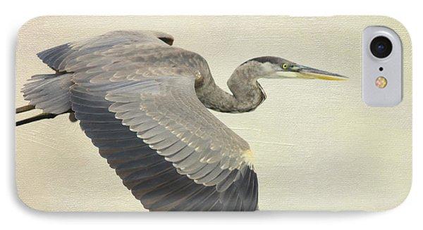 Blue Heron On Canvas Phone Case by Deborah Benoit