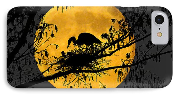 IPhone Case featuring the photograph Blue Heron On Roost by Dan Friend