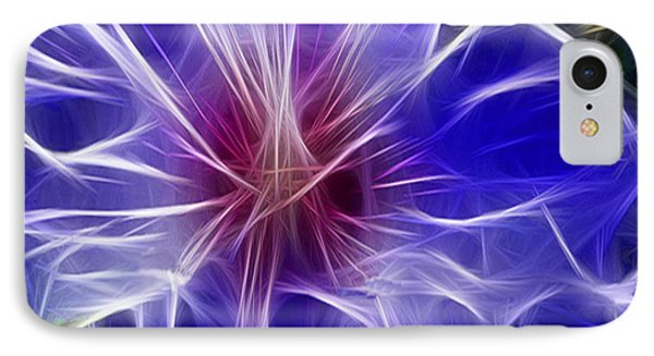 Blue Hibiscus Fractal Panel 3 IPhone Case by Peter Piatt
