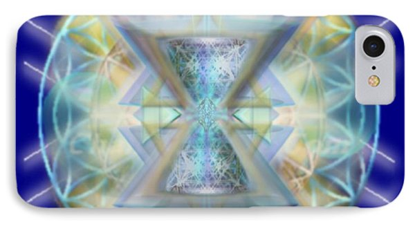 IPhone Case featuring the digital art Blue High-starred Chalices On Flower Of Life by Christopher Pringer