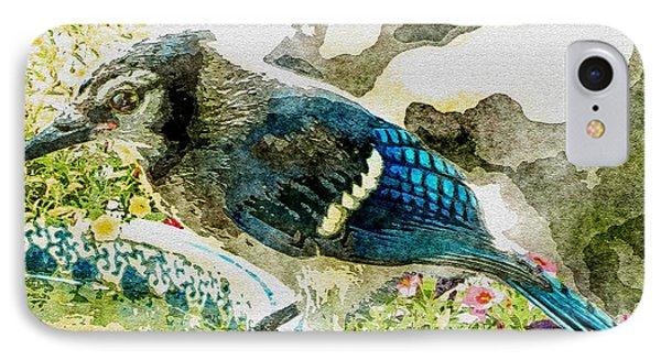 Blue Jay Art Phone Case by Debbie Portwood