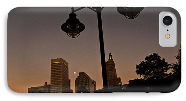 IPhone Case featuring the photograph Blue Moon Over Downtown Providence 1 by Nancy De Flon