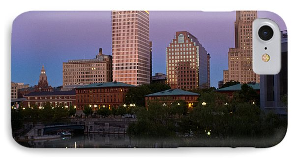IPhone Case featuring the photograph Blue Moon Over Downtown Providence 2 by Nancy De Flon