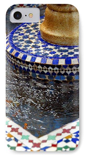 Blue Mosaic Fountain II IPhone Case by Bonnie Myszka