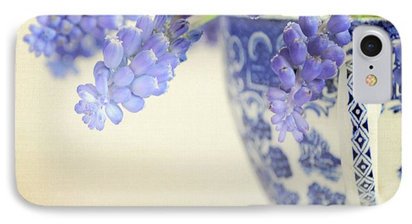Blue Muscari Flowers In Blue And White China Cup Phone Case by Lyn Randle