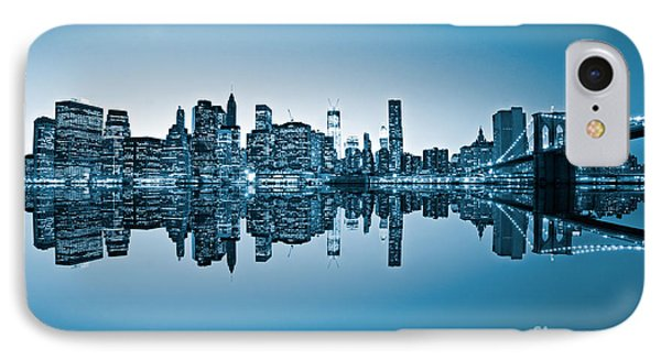 IPhone Case featuring the photograph Blue New York City by Luciano Mortula