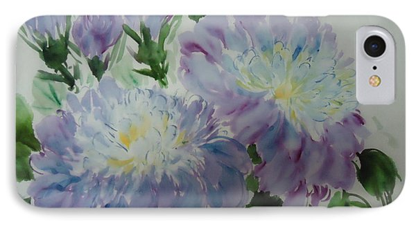 IPhone Case featuring the painting Blue Purple Flower by Dongling Sun