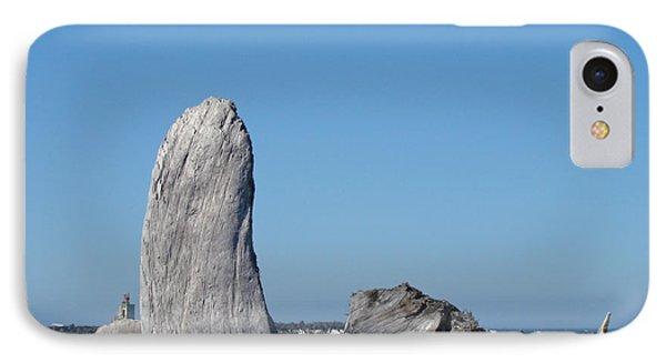 Blue Sky Coastal Landscape Driftwood Rock Pier Phone Case by Baslee Troutman