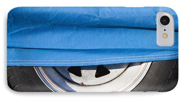 Blue Tarp And Car Wheel Phone Case by Paul Edmondson