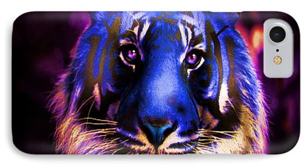 IPhone Case featuring the photograph Blue Tiger Of The Purple Forest by George Pedro