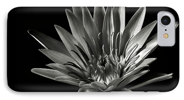 IPhone Case featuring the photograph Blue Water Lily In Black And White by Endre Balogh