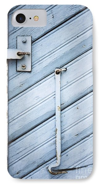 IPhone Case featuring the photograph Blue Wooden Wall With Metal Hook by Agnieszka Kubica
