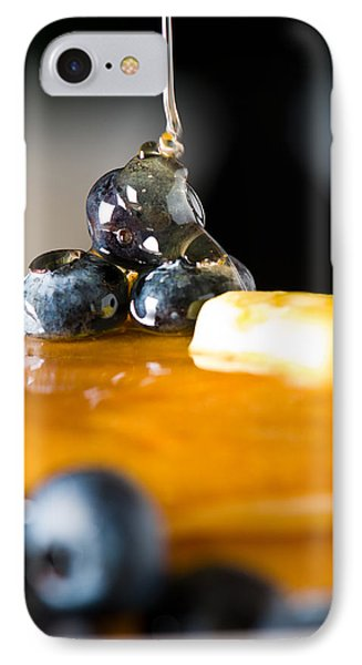 Blueberry Butter Pancake With Honey Maple Sirup Flowing Down Phone Case by Ulrich Schade