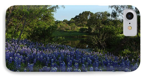 IPhone Case featuring the photograph Bluebonnets At The Pond by Susan Rovira