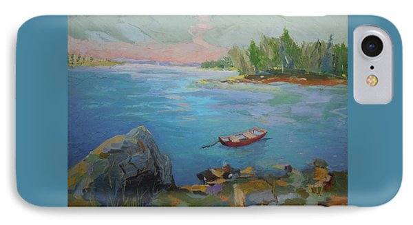 IPhone Case featuring the painting Boat And Bay by Francine Frank