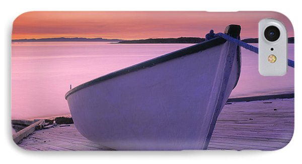 Boat At Dawn, Harrington Harbour, Lower Phone Case by Yves Marcoux