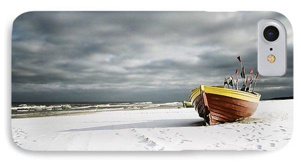 Boat On Snowy Beach IPhone Case by Agnieszka Kubica