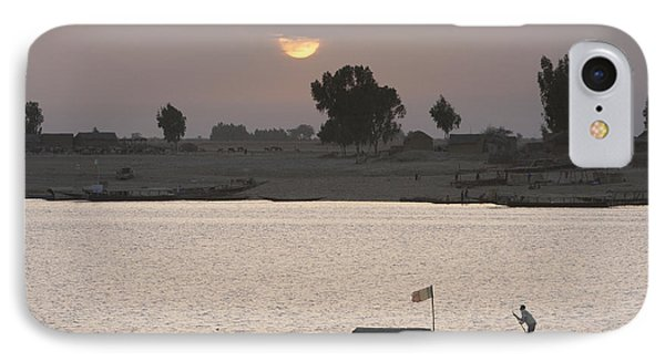 Boat On The Niger River In Mopti, Mali Phone Case by Peter Langer