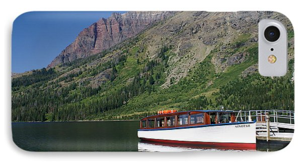 Boat On Two Medicine Phone Case by Marty Koch