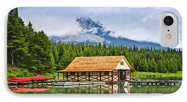 Boathouse On Mountain Lake IPhone Case by Elena Elisseeva