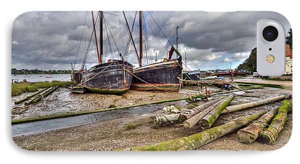 Boats And Logs At Pin Mill Phone Case by Gary Eason