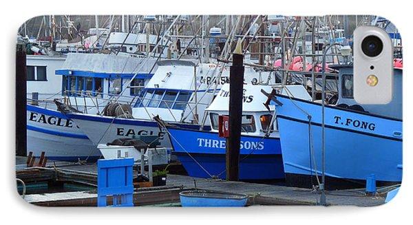 Boats Docked In Harbor Phone Case by Jeff Lowe