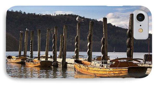 Boats Docked On A Pier, Keswick Phone Case by John Short