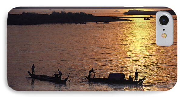 Boats Silhouetted On The Mekong River Phone Case by Steve Raymer