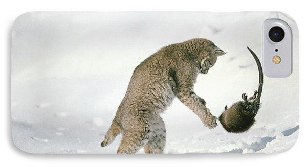 Bobcat Lynx Rufus Hunting Muskrat Phone Case by Michael Quinton