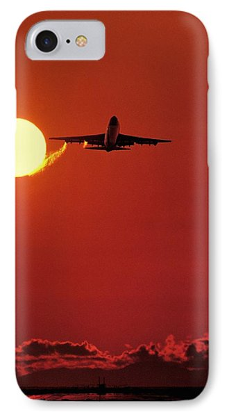Boeing 747 Taking Off At Sunset Phone Case by David Nunuk