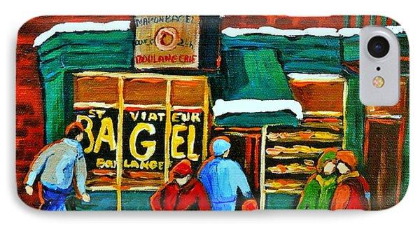 Boulangerie St.viateur Scene De Rue De Montreal En Hiver Phone Case by Carole Spandau