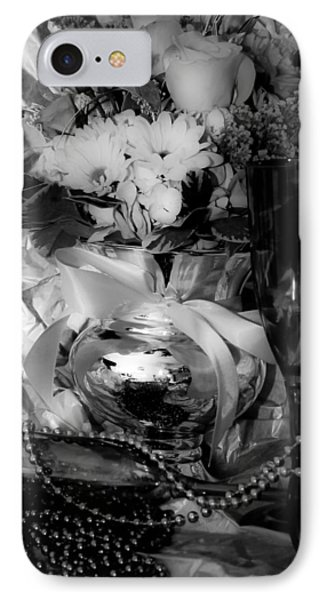 Bouquet And Beads Bw Phone Case by DigiArt Diaries by Vicky B Fuller