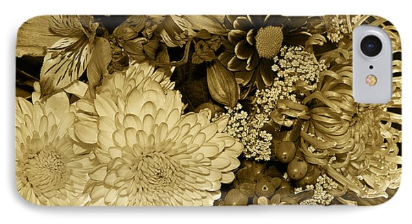 Bouquet In Sepia Phone Case by Phyllis Denton