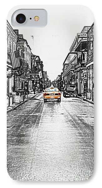 Bourbon St Taxi French Quarter New Orleans Color Splash Black And White Colored Pencil Digital Art IPhone Case by Shawn O'Brien