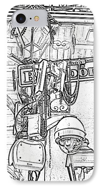 Bourbon Street Sign And Lamp Covered In Beads Black And White Photocopy Digital Art Phone Case by Shawn O'Brien