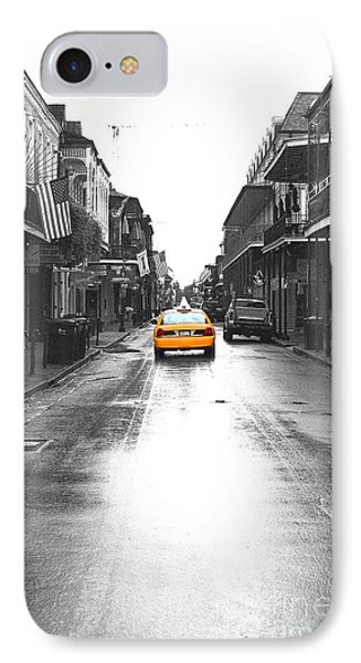 Bourbon Street Taxi French Quarter New Orleans Color Splash Black And White Film Grain Digital Art IPhone Case by Shawn O'Brien
